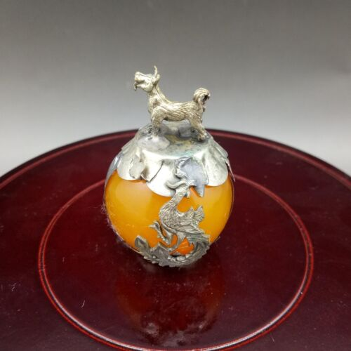 Collectable Hand-carve Beeswax Armor Tibetan Silver Zodiac statue dog y021