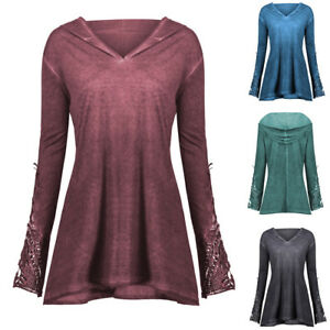 Womens-Casual-Long-Sleeve-Lace-Crochet-Panel-Plus-Outerwear-Hoodie-Blouse-Tops-L