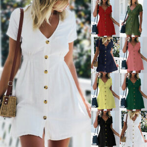 Women Summer Short Sleeve Solid V Neck Button Mini Dress Casual Short Sundress