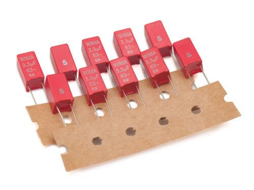 25 un. Wima MKS2 3,3uF 63 V 5/% poliéster de película Metalizada Lámina de condensadores PCM = 5 mm