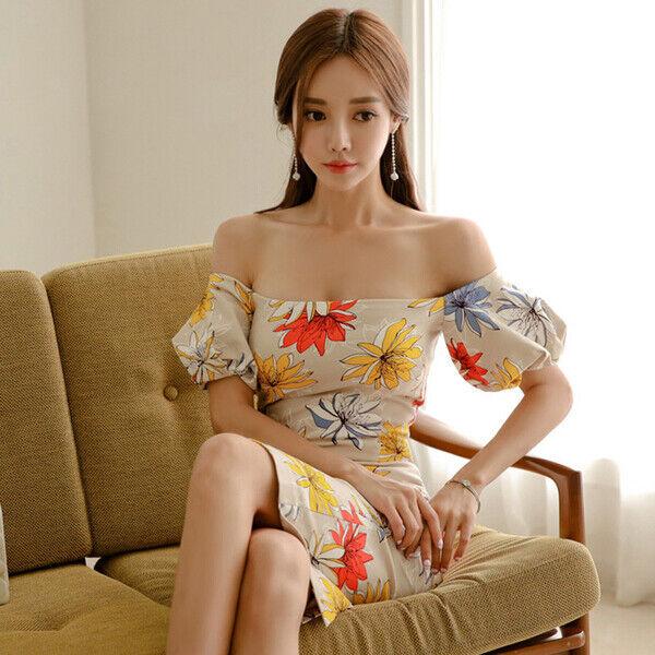Elegant Dress Soft short Beige Flowers Slim Soft Event 5108