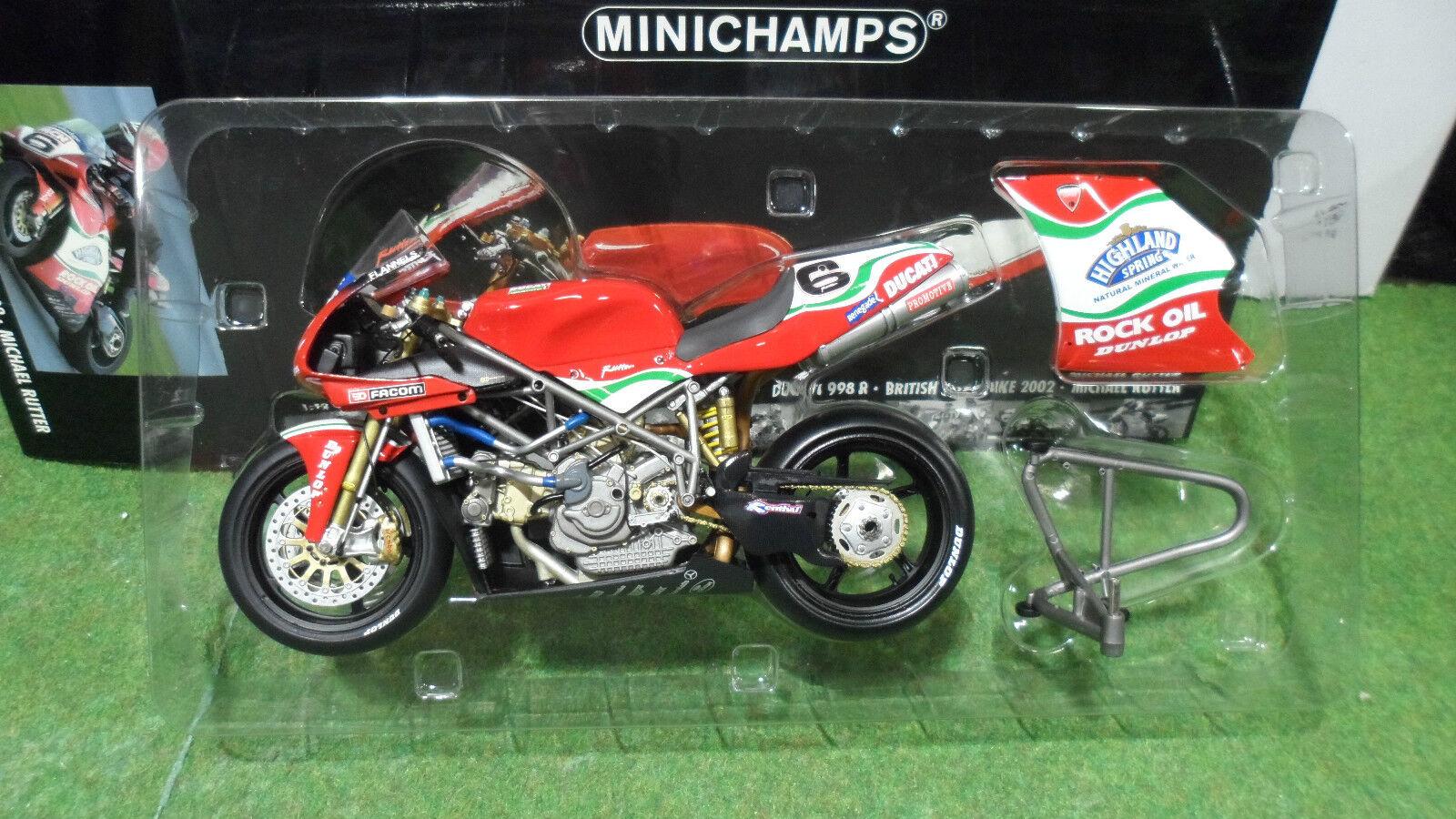 MOTO DUCATI 998 R BSB 2002 Rutter SUPERBIKE 1 12 Minichamps 122021206 miniature