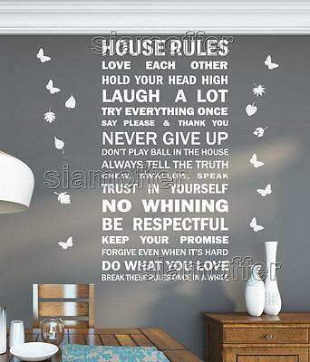 Large Family Love House Rules Text Wall Quotes Mural Sticker Wall Sticker Decals