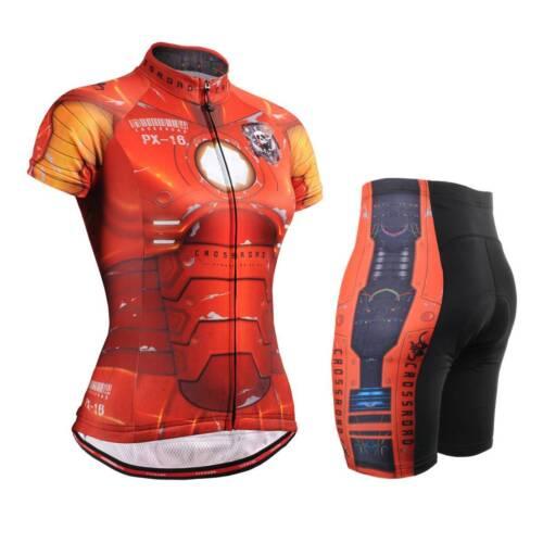 FIXGEAR CS-W802-SET Women/'s Cycling Jersey /& Padded Shorts MTB Bike BMX Roadbike