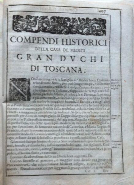Appena 1664 Compendi Historici Della Casa De Medici Gran Duchi Di Toscana Negozio Online