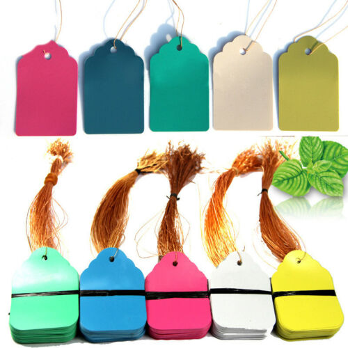 100pc String Label Hang Tag Jewelry Bags Clothes Shoes Trousers Paper Price Tag