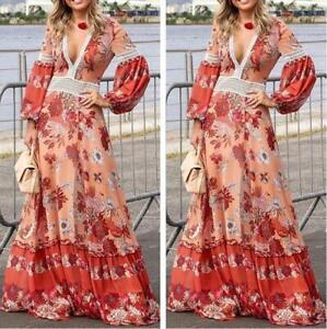 2019-Occident-Womens-Long-Boho-Dress-Floral-Print-V-Neck-Sexy-Swing-Dresses-Maxi