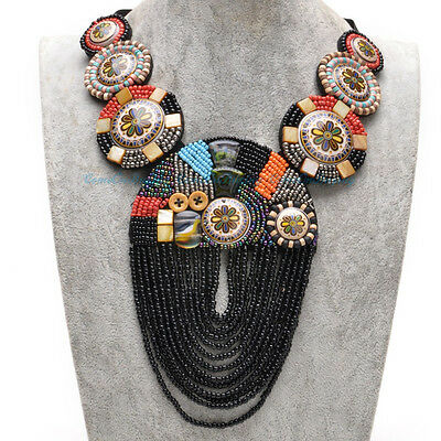 NEW Mystic Black Fabric Ceramic Cluster Resin Beads Pendant Statement Necklace