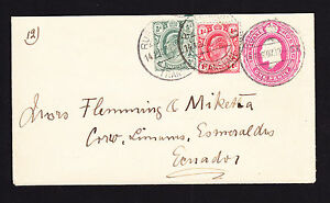 1907-KEVII-used-stamps-on-stationery-cover-Rustenburg-Transvaal-to-Ecuador
