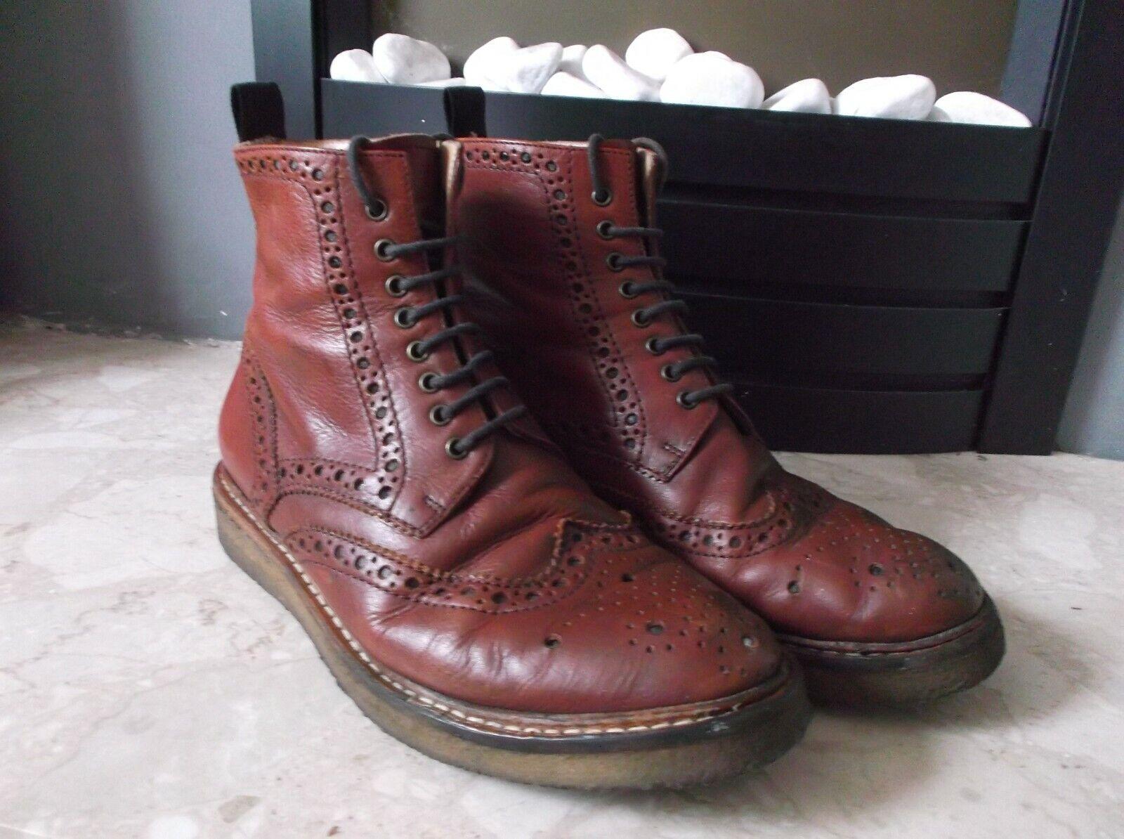 Poste Mistress Chloe Burgundy Leather Crepe Sole Brogue boots Size EU 37 UK 4