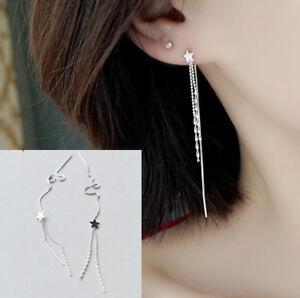 XXL Lange 925 Sterling Silber Durchzieher Ohrringe Anänger Kette Ohrschmuck NEU