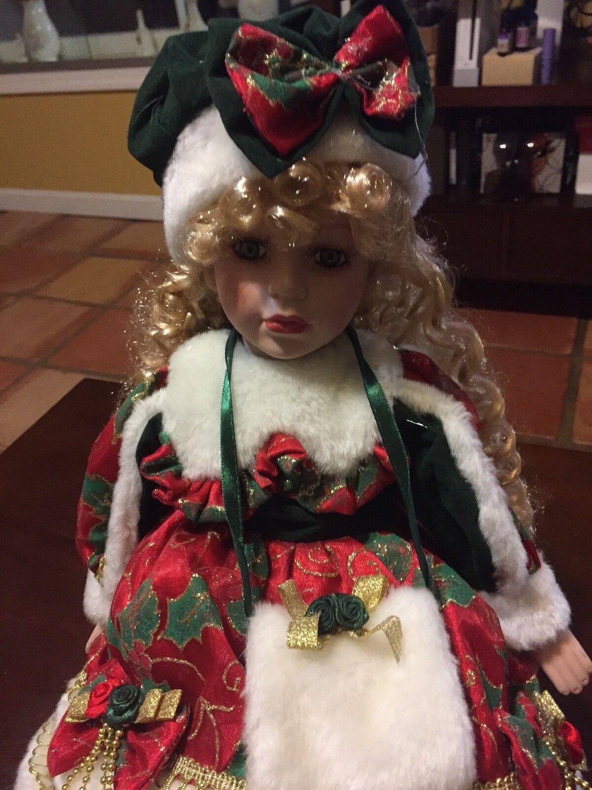 Dan Dee Porcelain Doll Holiday Edition w  Sled