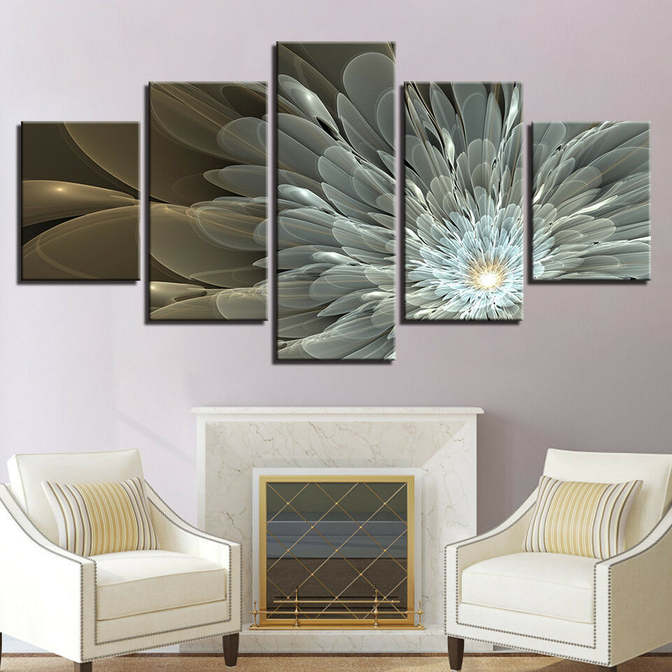 Abstract Weiß Flower Canvas HD Prints Paintings Wall Art Pictures Framework 5pc