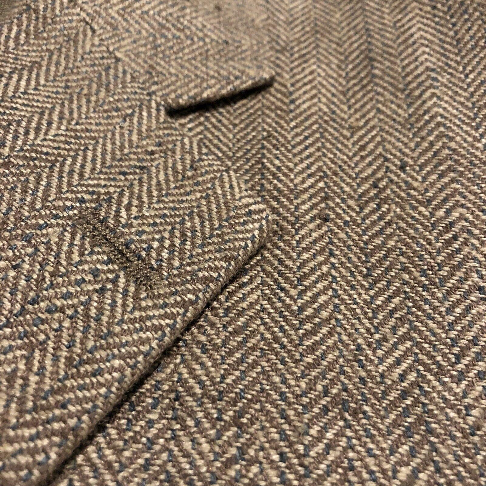 Jack Victor Resort Mens 100% Silk Beige Tan Herringbone Blazer Coat Jacket • 41R