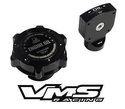 VMS BILLET ALUMINUM BLACK ANODIZED OIL CAP DIPSTICK LS2 LS-2 ENGINE OIL EMBLEM B