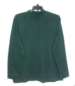 Croft-amp-Barrow-Mock-Turtleneck-Mens-Size-XL-Hunter-Green-100-Cotton-Long-Sleeve