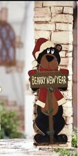 Christmas Bear Berry New Year Woodland OutDoor Decor Tin Wall Hanging Greeter