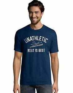 Hanes-Men-039-s-T-Shirt-Blue-Unathletic-Dept-Graphic-Tee-Short-Sleeve-Lightweight