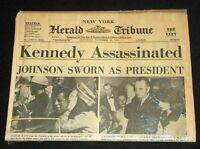 "NOVEMBER 23, 1963 ""KENNEDY ASSASSINATED"" NEW YORK HERALD TRIBUNE NEWSPAPER *NICE"