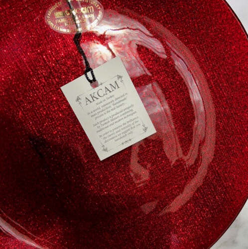 """SET-4   8 1//2/""""  BEAUTY x4 AKCAM CHRISTMAS RED GLITTERY SHIMMERING SALAD PLATES"""