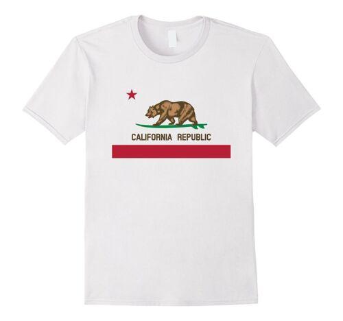 California Republic Surfing Bear State Flag T-Shirt WHITE