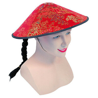 #Mandarin Chinese Kung Fu Coolie Red Fabric Hat Plait Fancy Dress Accessories
