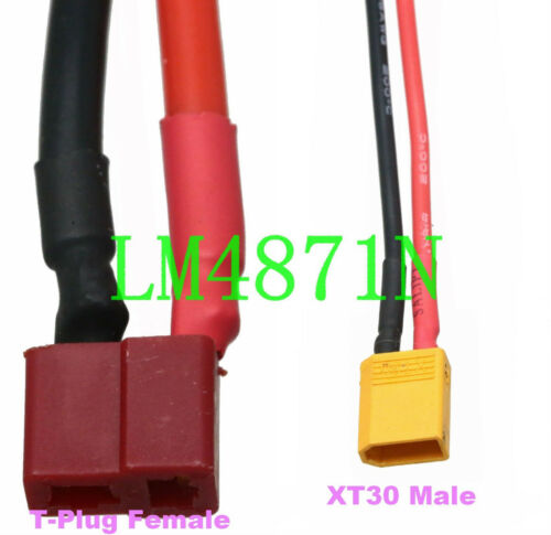 T-Plug Deans to XT30 XT-30 18AWG 5CM Wire for RC Mini Quadcopter Lipo 2//3//4S
