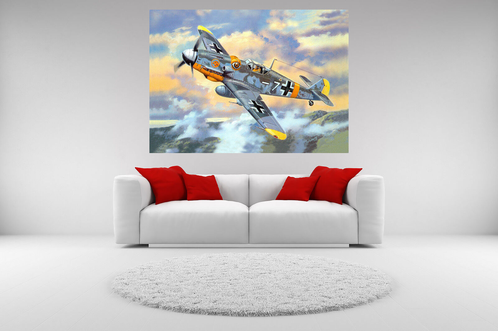 Bf 109 Fighter Jet Canvas Giclee Print Picture Unframed Home Decor Wall Art