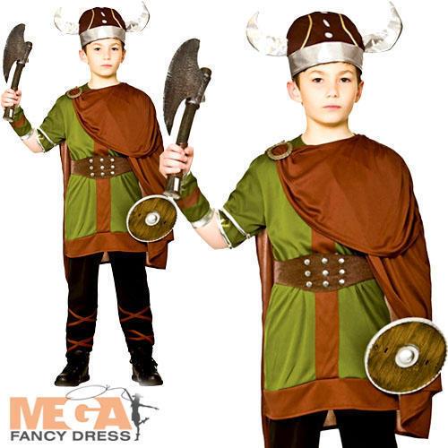 Viking Warrior Ragazzo Costume Storico Norreno Sassone per Bambini Ragazzi Costume NUOVO