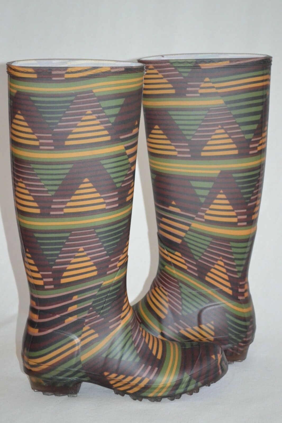 NEW M MISSONI WOMENS ZIGZAG RAIN RUBBER BOOTS SZ 10 - EU40 MADE IN ITALY