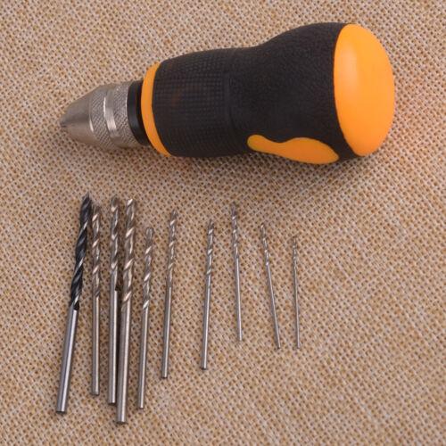 Micro Mini Portable petite perceuse à main /& 10pcs Twist Drill Bits Set Outil 0.8-3.0mm