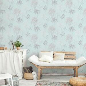 Norwall Farmhouse Cottage Queen Anne S Soft Blue Lace Floral