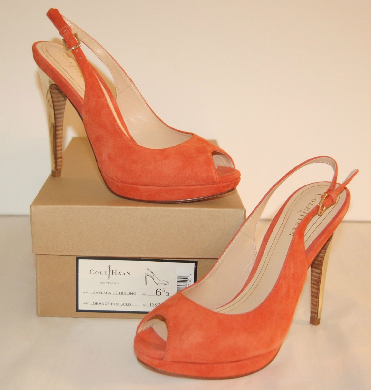 New  298 Cole Haan Nike Air Chelsea OT Hi Slingback PeepToe Orange Pop Suede lot