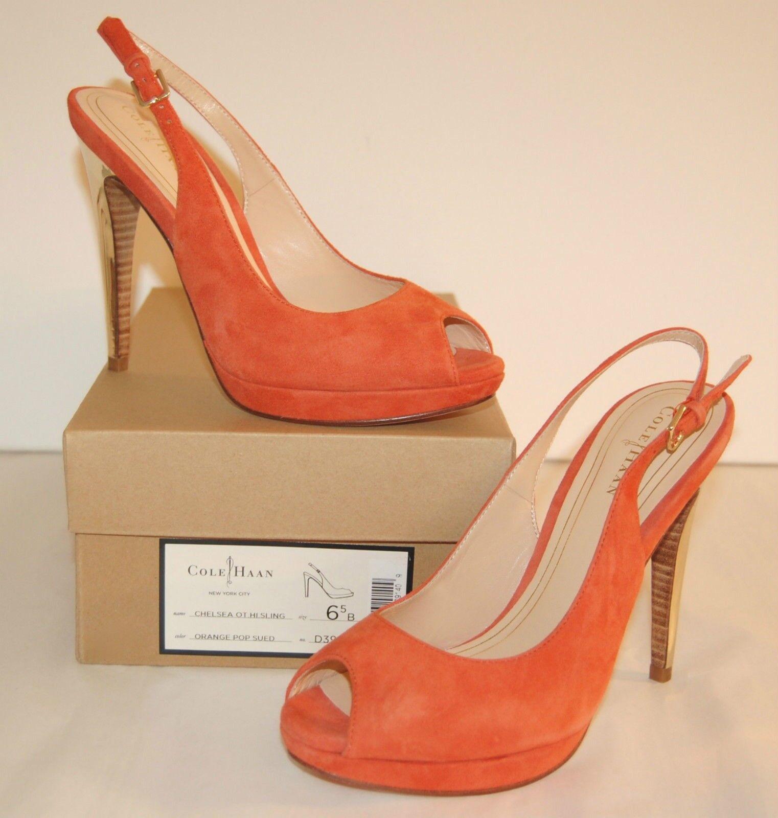New  298 Cole Haan Nike Air Chelsea OT Hi Slingback PeepToe orange Pop Suede lot