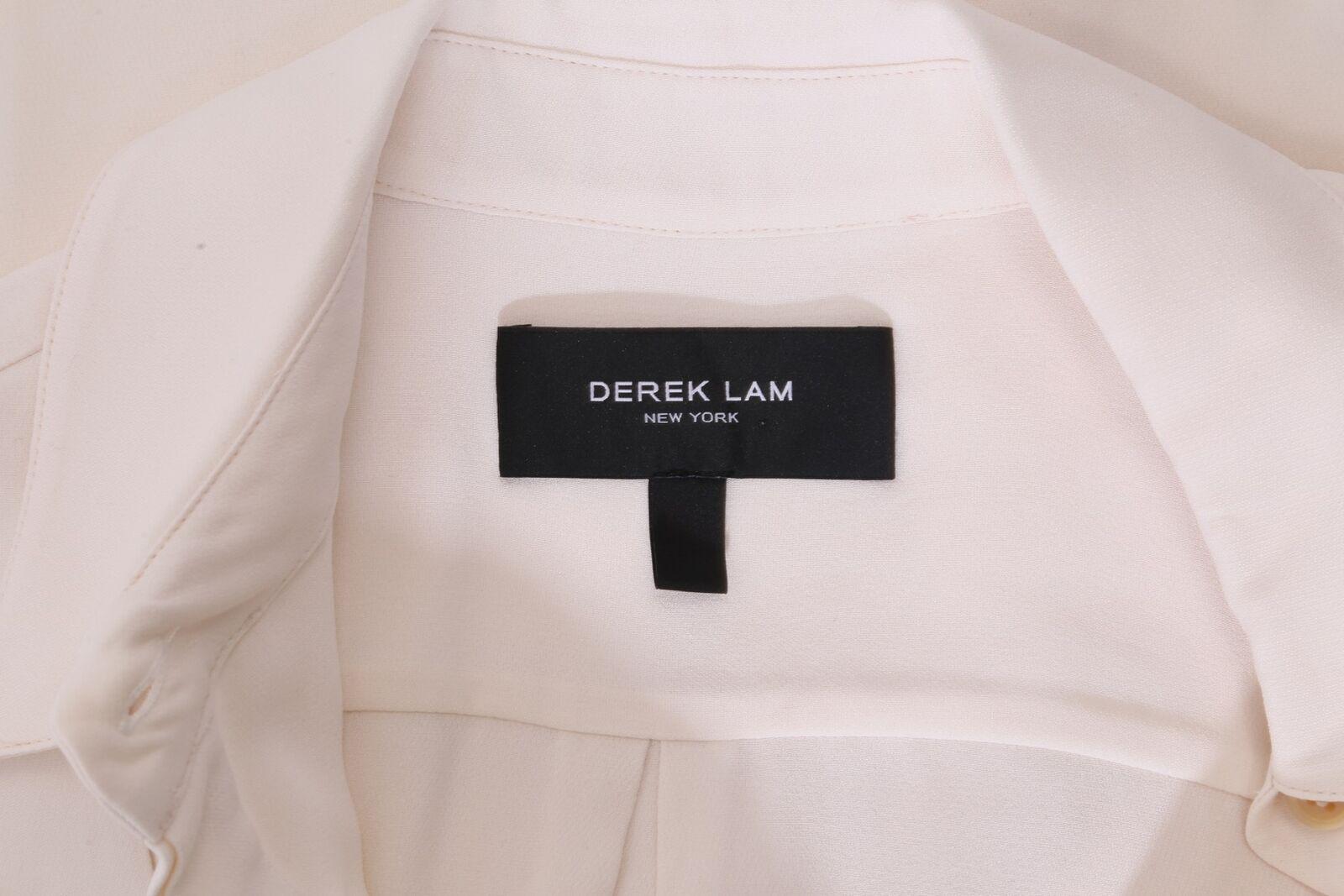 DEREK LAM Ivory Sleeveless Collared Silk Pleated … - image 7