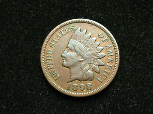 NEW-INVENTORY-VF-1898-INDIAN-HEAD-CENT-PENNY-w-DIAMONDS-amp-PARTIAL-LIBERTY-32B