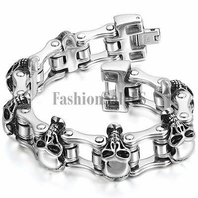 Men's Gothic Big Heavy Stainless Steel Skull Bicycle Chain Bracelet Bangle Link