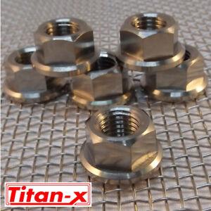 6 Titanium Flange Nuts  M10x1.25