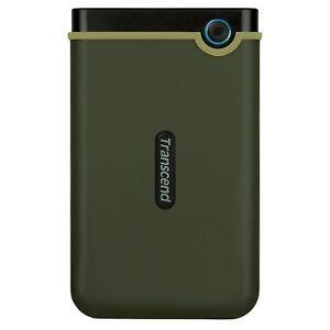 Transcend 2TB StoreJet 25M3 USB 3.1 Slim External Hard Drive, Military Green