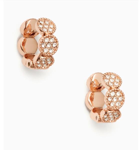 e5939a5b7a98a Kate Spade 14k Rose Gold Filled & Clear Crystal Gatsby Dot Huggie Earrings