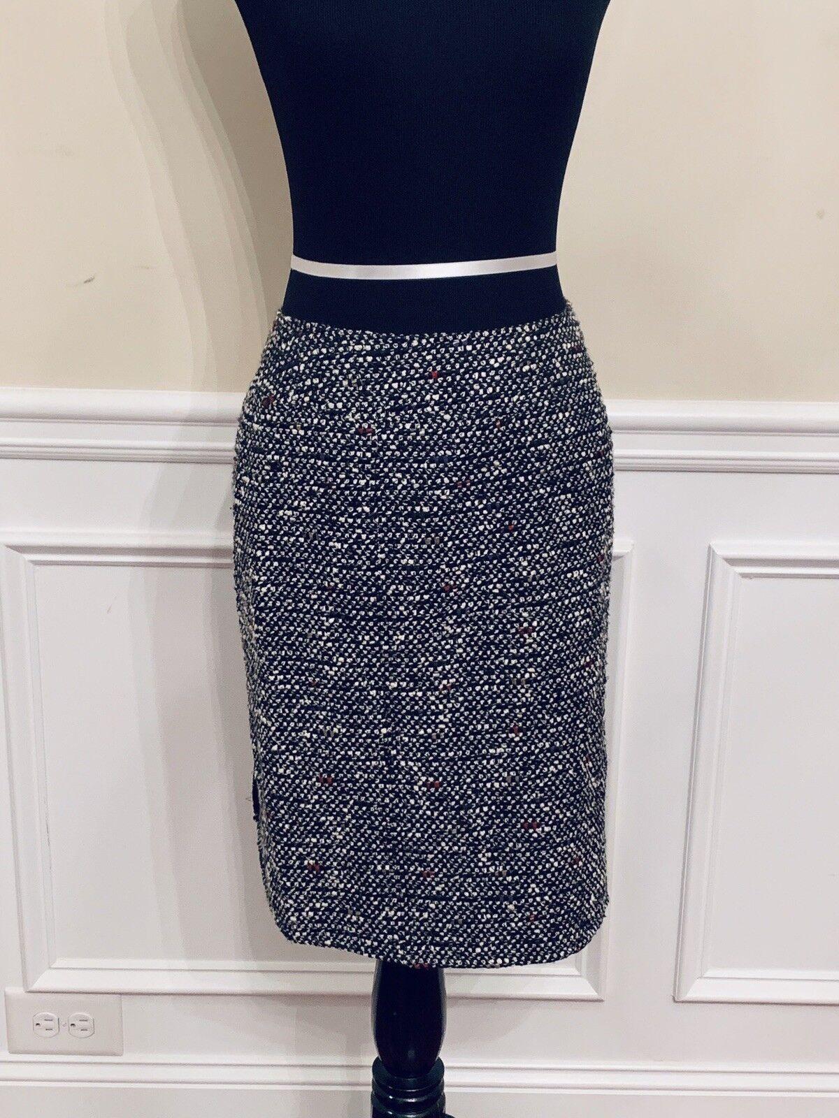 NEW Lafayette 148 New York bluee Tweed Wool Blend Pencil Skirt Size Petite 2