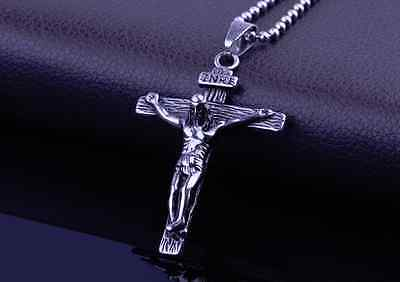 316L Stainless Steel Pendant Necklace Crucifix Cross Jesus Silver Chain Gift P66