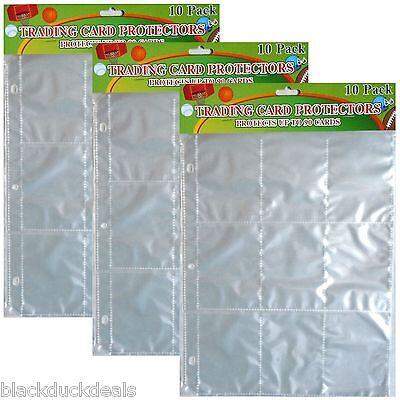 Sports Trading Card Protector Sheets 9 Pocket x 30 pages-football, baseball, ect