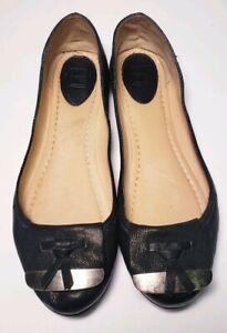 FRYE-Women-039-s-Black-Leather-Ballet-Flats-Size-9