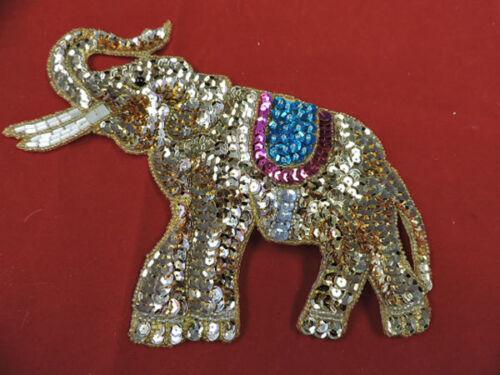 SEQUIN BEADED ELEPHANT APPLIQUE 3450-L