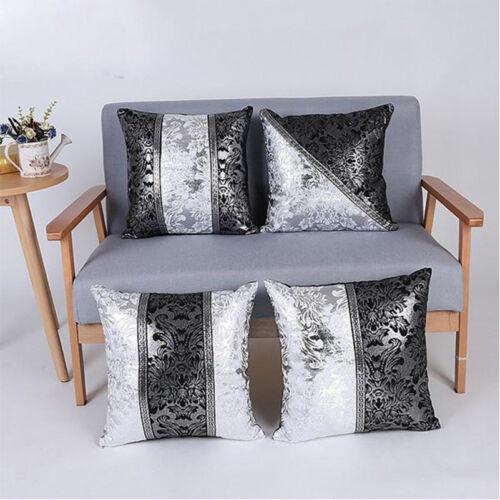 Black Silver Cotton Linen Pillow Case Sofa Throw Waist Cushion Cover Home Decor