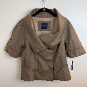 Magaschoni-Womens-Blazer-Jacket-Beige-Oatmeal-Short-Sleeve-Buttons-8-New