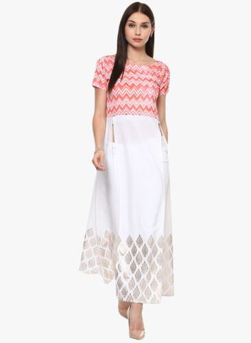 Blanc Rose Bollywood Kurta Anarkali Indian Pakistani Kurti