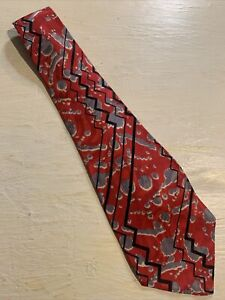 Vtg-1940s-50s-Loud-Abstract-Squiggle-Silk-Swing-Tie-Wide-Short-VLV-51-4-25