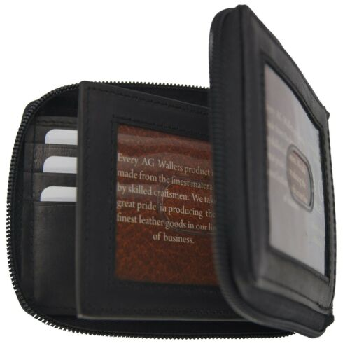 AG Wallets Mens Leather Zip Around ID Card Window Secure Zipper Swiss Bifold